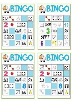 BINGO cards Numbers & Nombres (French & English numbers 1-10)