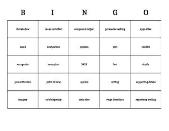 BINGO reading terms
