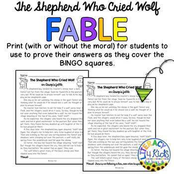 BINGO with a Purpose: The Shepherd Who Cried Wolf