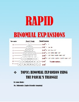 FOILING BY USING THE PASCAL'S TRIANGLE - BINOMIAL EXPANSIONS