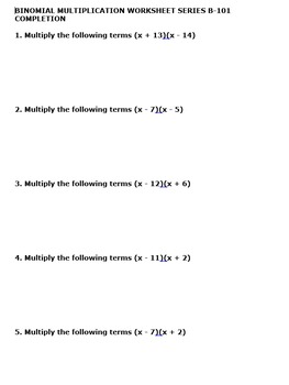 BINOMIAL MULTIPLICATION WORKSHEET 10 PACK
