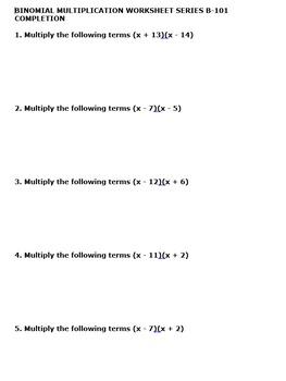 BINOMIAL MULTIPLICATION WORKSHEET 10 PACK