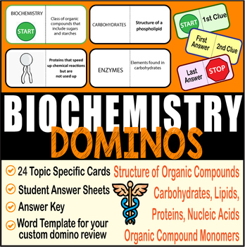 BIOCHEMISTRY ~DOMINO REVIEW~ 24 Cards + Answer Sheets + Key~BIOLOGY