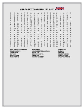 BIOGRAPHICAL WORD SEARCH -MARGARET THATCHER 1925-2013