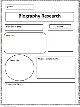 BIOGRAPHY FUN GRAPHIC ORGANIZERS