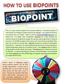 BIOLOGY: INCENTIVE POINTS