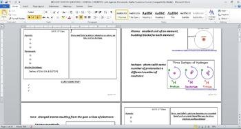 BIOLOGY STARTER QUESTIONS - GEN CHEMISTRY, with Agenda, HW, Starters Format