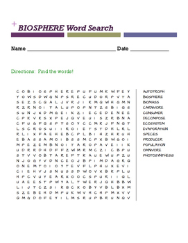 BIOSPHERE Word Search