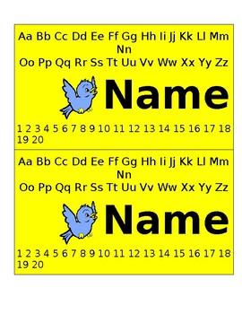 BIRD NAME TAG EDITABLE