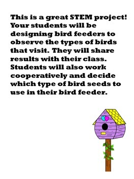 BIRDFEEDERS a 1st Grade STEM Project