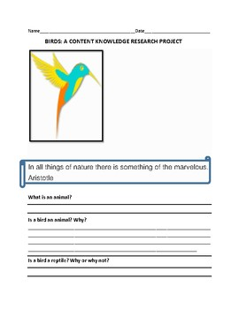 BIRDS: A CONTENT KNOWLEDGE RESEARCH PROJECT