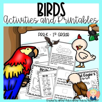 BIRDS CHARACTERISTICS -Life Cycle, Activities and Printables for K-1