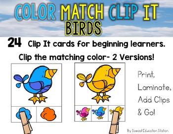 BIRDS Color Match Clip It {A Beginning Work Task)