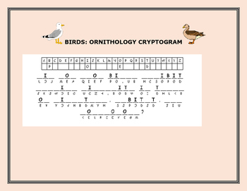 BIRDS:ORNITHOLOGY: CRYPTOGRAM, GRADES 5-7, MG