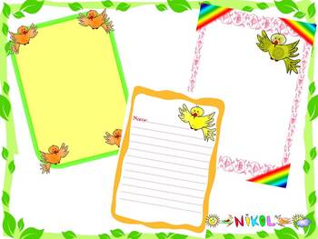 Birds - Frames - Writing paper - Labels - Clip Art