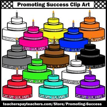 BIRTHDAY CAKE Colors Clip Art Birthday Clipart for Birthday Cards SPS