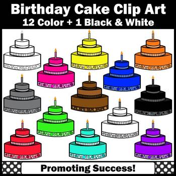 Birthday Cake Clipart in Primary Colors SPS