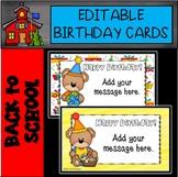 Editable Bear Birthday Cards