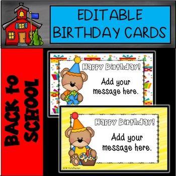 Editable Bear Birthday Cards By Mama Pearson