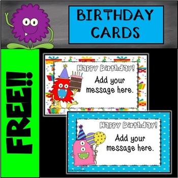 Editable Monster Birthday Cards