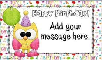 Editable Owl Birthday Cards