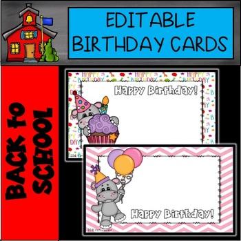 Editable Birthday Cards Hippo Theme By Mama Pearson Tpt