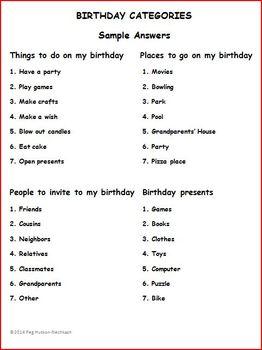 BIRTHDAY CATEGORIES: FREEBIE