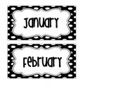 BIRTHDAY CHART months and days of the week black and white