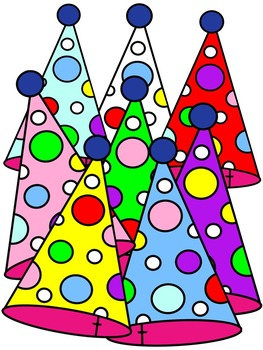 BIRTHDAY CLIP ART * PARTY HATS * COLOR AND BLACK AND WHITE