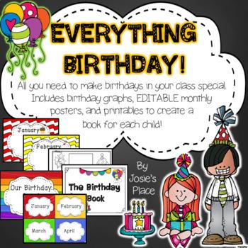 BIRTHDAYS *Editable* Books, Activities, Charts & More!