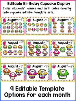 EDITABLE BIRTHDAY PACK: CLASS DECOR: READING THEME