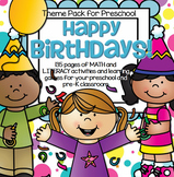 BIRTHDAYS Theme Math and Literacy Centers and Activities for Preschool & Pre-K