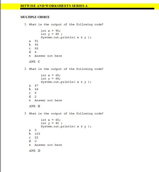 BITWISE AND QUESTION BANK - JAVA FORMAT