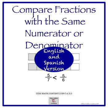 Bilingual:Lessons (3rd)Comparing Fractions with the same numerators/denominators