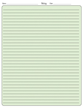 BIology Full Page Writing Template