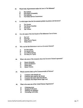 BJC Social Studies Multiple Choice 2014