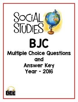 BJC Social Studies Multiple Choice 2016