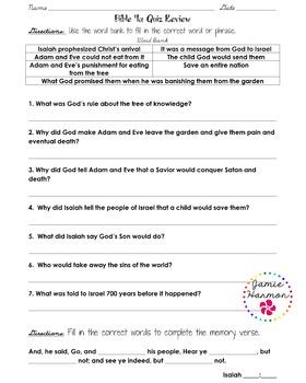 BJU Bible 2 Unit 4 Quiz Pack