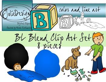 BL Blend Phonics Clip Art Set - Color and Line Art 8 pc set