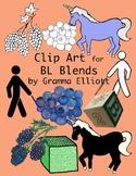 BL Blends Phonics Clip Art in Color and Black Line - 300 dpi .png