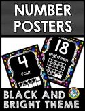 BLACK AND BRIGHTS CLASSROOM DECOR: NUMBER POSTERS WITH TEN FRAMES 1-20