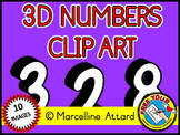 BLACK AND WHITE 3D NUMBERS CLIPART SET: BACK TO SCHOOL CLIPART