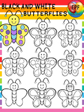 BLACK AND WHITE BUTTERFLY CLIPART.