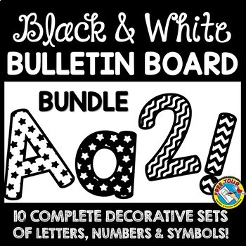 picture regarding Poster Board Letters Printable named BLACK AND WHITE CLASSROOM DECOR BULLETIN BOARD LETTERS PRINTABLE Package deal