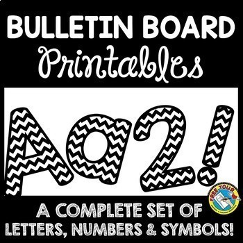 BLACK AND WHITE CLASSROOM DECOR BULLETIN BOARD LETTERS PRINTABLE BUNDLE