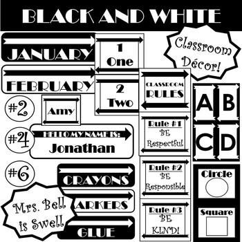 BLACK AND WHITE Classroom Decor!