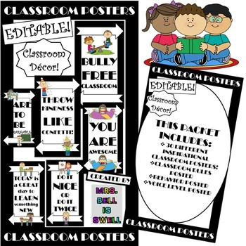Classroom Posters (Black and White Theme)