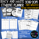 BLACK AND WHITE PLANNER 2018-2019 - EDITABLE WITH FREE UPDATES!