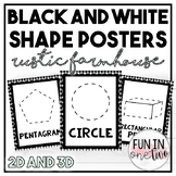 BLACK AND WHITE RUSTIC FARMHOUSE SHAPES POSTERS