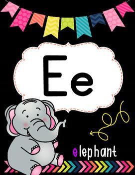 Alphabet Posters: Pretty Little Classroom Decor (BLACK & BRIGHTS THEME)